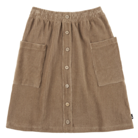 Carlijn Q - Corduroy Midi Skirt with Buttons and Pockets Grey