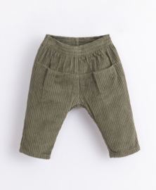 Play Up - Corduroy Trousers with Elastic Waist Avocado