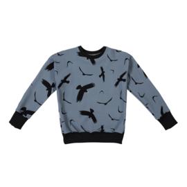 Malinami - Sweatshirt Birds on Dusty Blue