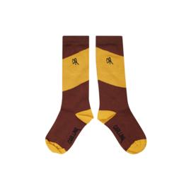 Carlijn Q - Knee Socks Diagonal Brown/Yellow