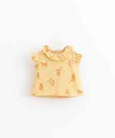 Play Up - T-Shirt with Cats Print Straw