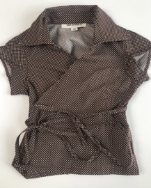 Van Hassels - Little Brown Polka Dots wrap top 104
