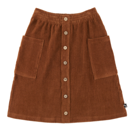 Carlijn Q - Corduroy Midi Skirt with Buttons and Pockets Brown