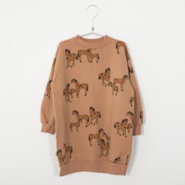 Lötiekids - Long Sweater Dress Horses Peach
