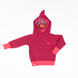 Alba of Denmark - Habian Hood Blouse Raspberry Magic Stripes