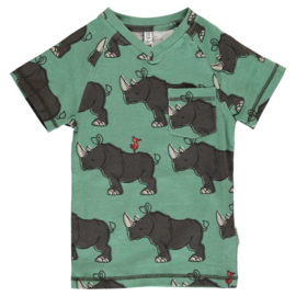 Maxomorra - Top Short Sleeve V-Neck Rhino
