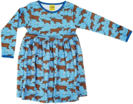 Duns Sweden - ADULT LS Gather dress moose blue