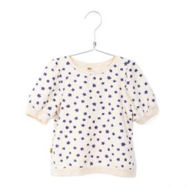 Lötiekids - Short Puff Sleeve Sweatshirt Flowers Off White