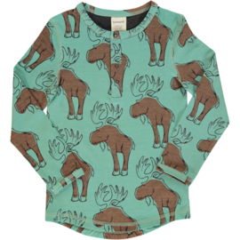 Maxomorra - Top Longsleeve Slim Button Mighty Moose