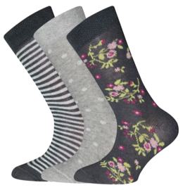 Ewers - Socken 3-Pack Flower/Dots/Stripes Sweater Grau Melange