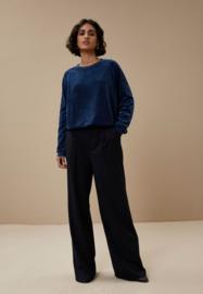 BY-BAR LADIES - Teddy Velvet Sweater Dark Indigo Blue