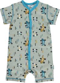 Maxomorra - Rompersuit Short Sleeve Button Lizard