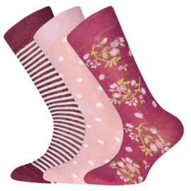 Ewers - Socken 3-Pack Flower/Dots/Stripes Marone