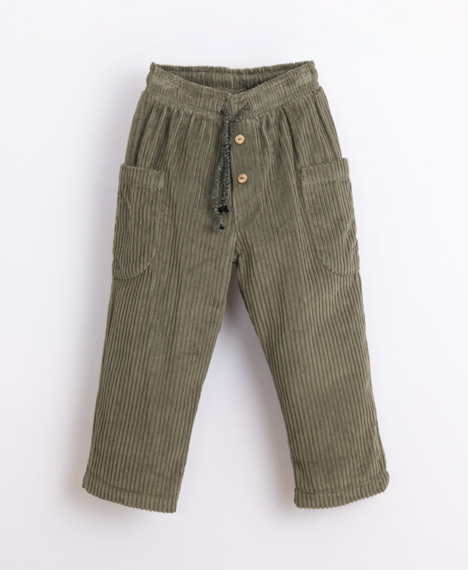 Play Up - Corduroy Trousers in Organic Cotton Avocado