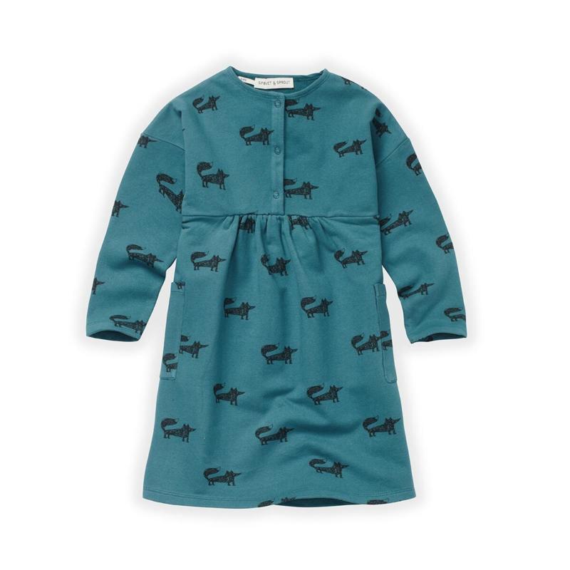 Sproet&Sprout - Dress Fox Print Pine Green