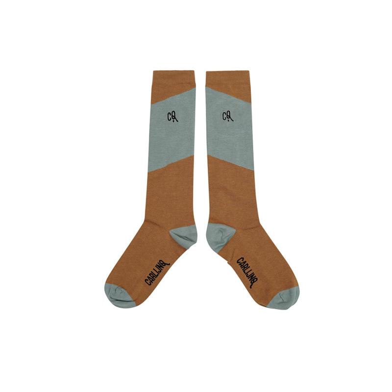 Carlijn Q - Knee Socks Diagonal Brown/Blue