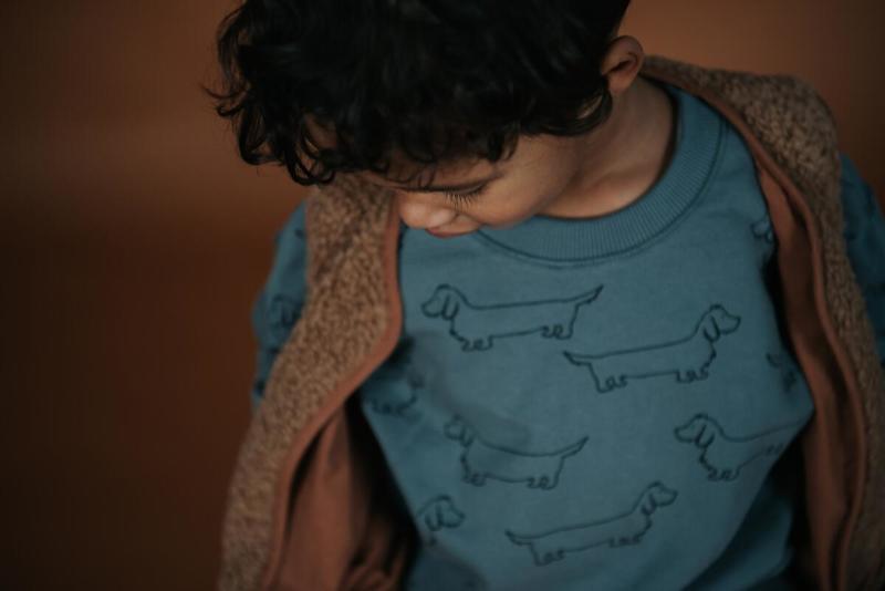 Sproet&Sprout - Sweatshirt Sausage Dog Print Lake Blue