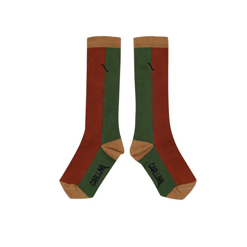 Carlijn Q - Knee Socks Color Block Ginger/Green