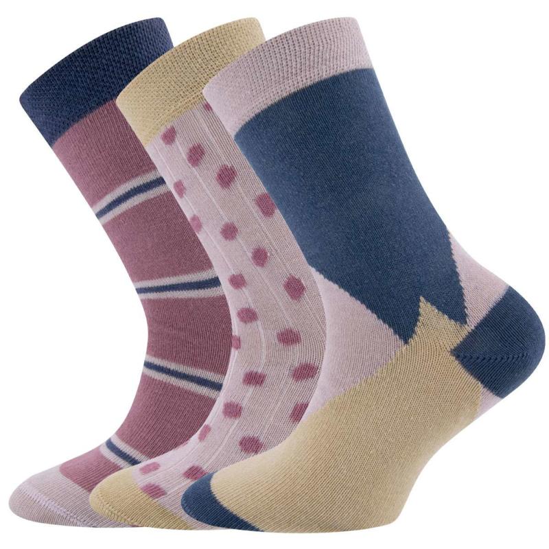 Ewers - Socken 3-Pack GRAPHIK Rosenrauch/Hellcamel/Indigo