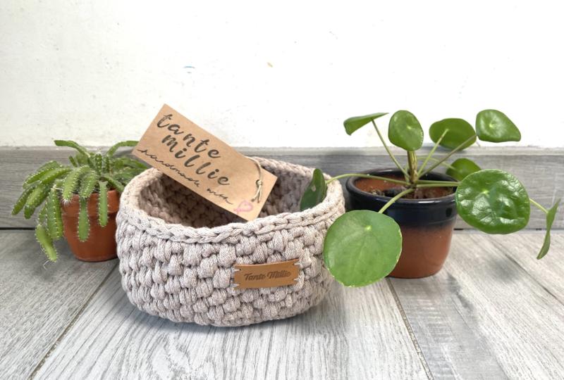 Tante Millie - Taupe Knit Small Basket ø15cm