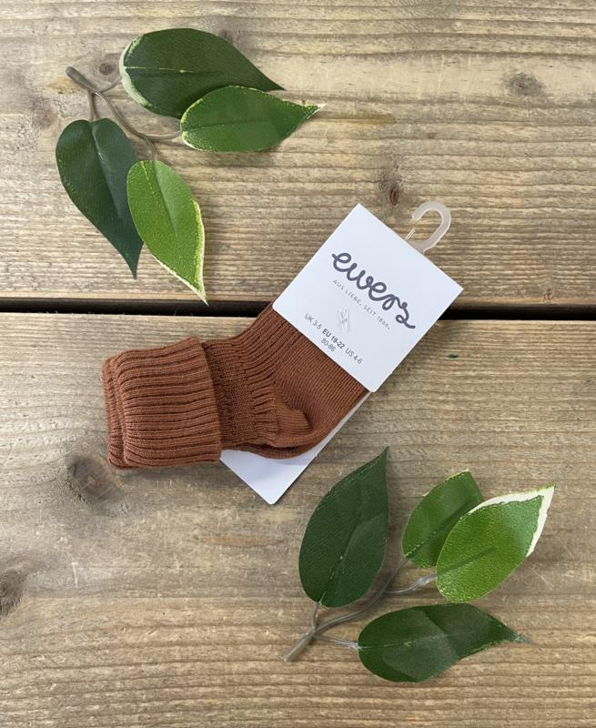Ewers - Kousen met Rib en Omslag Toffee