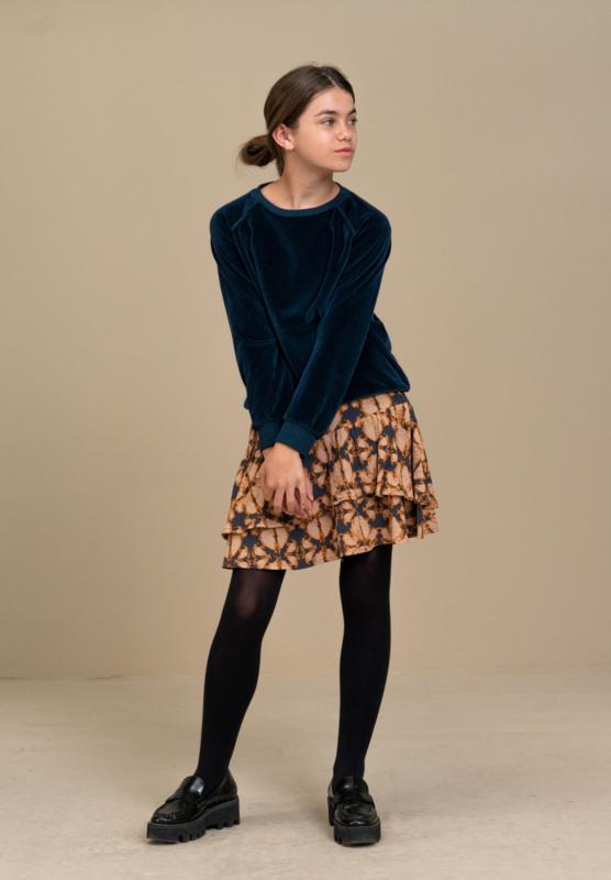BY-BAR - Girls Teddy Velvet Sweater Dark Indigo Blue