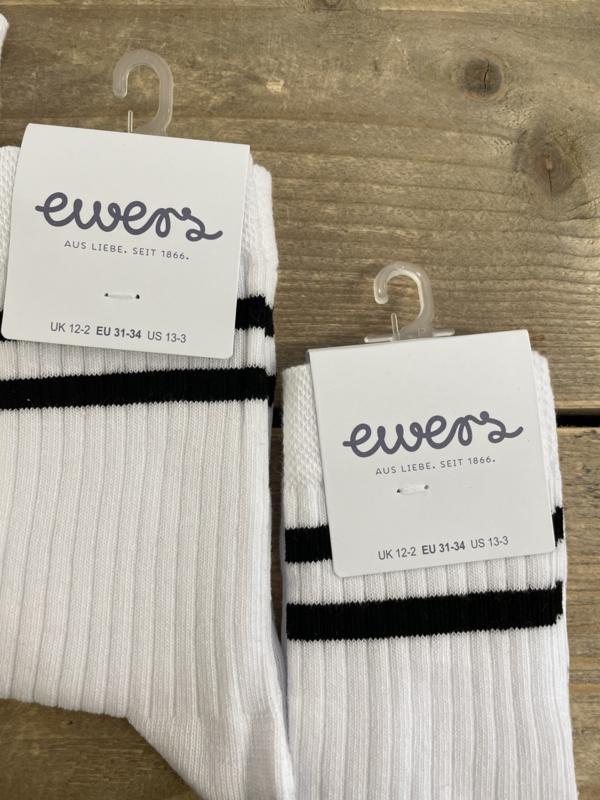 Ewers - Kousen met Ribmotief Twee Strepen Weiss