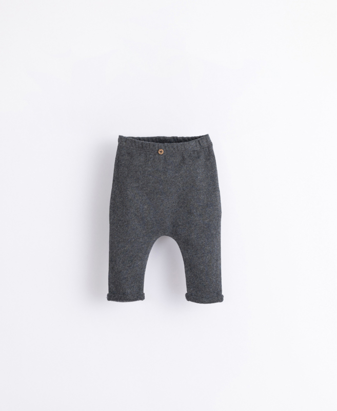 Play Up - Trousers with a Decorative Button Frame Melange