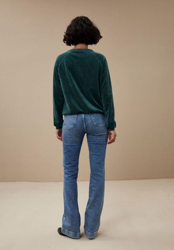 BY-BAR LADIES - Teddy Velvet Sweater Green