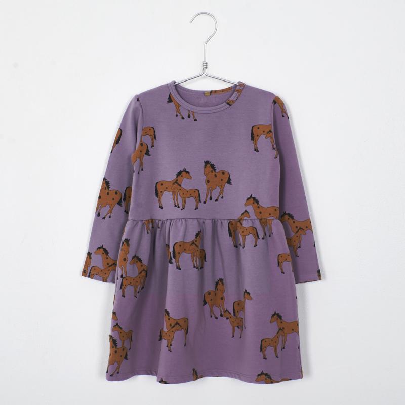 Lötiekids - Dress Waist Seam Horses Lilac