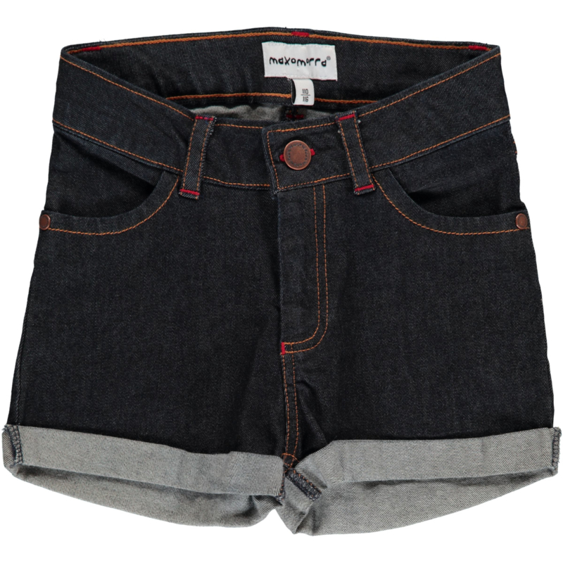 Maxomorra - Pants Short Denim Dark Blue Washed