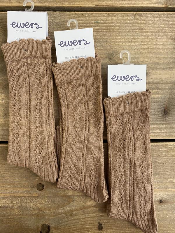 Ewers - Kniekousen Crochet Lace Camel