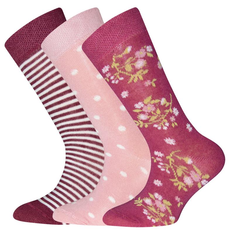 Ewers - Socken 3-Pack Flower/Dots/Stripes Marone