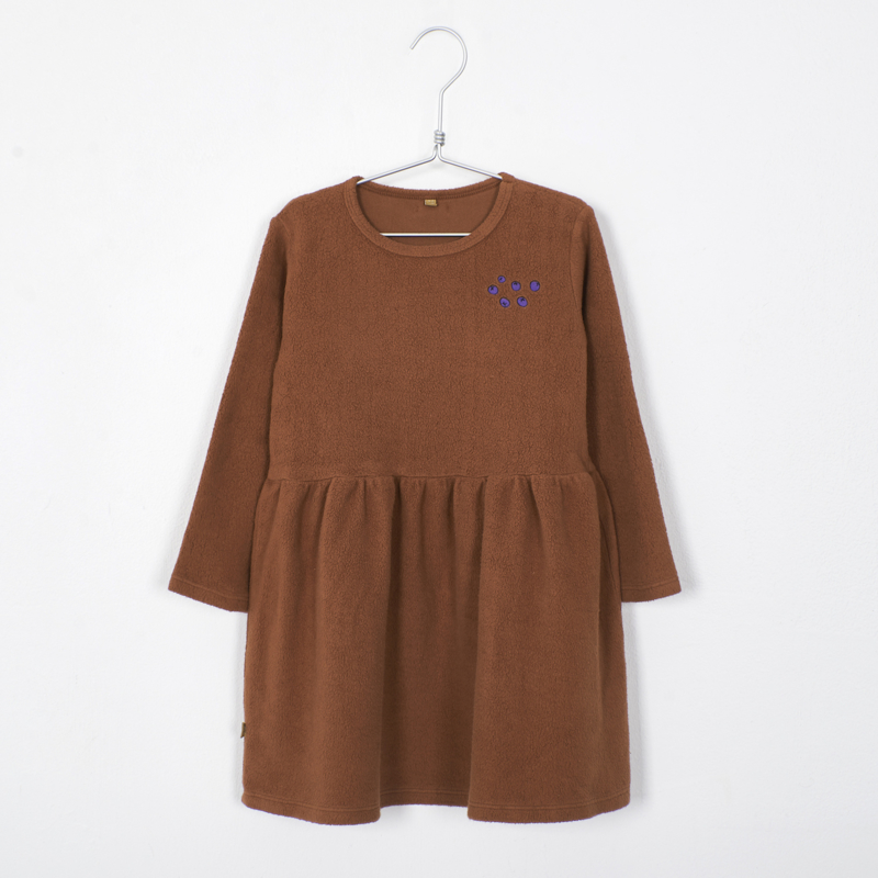 Lötiekids - Dress Waist Seam Solid + Embroidery Cinnamon