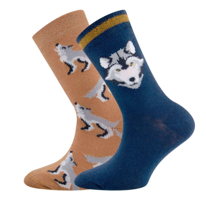 Ewers - Socken 2-Pack WOLF Pergament/Navy