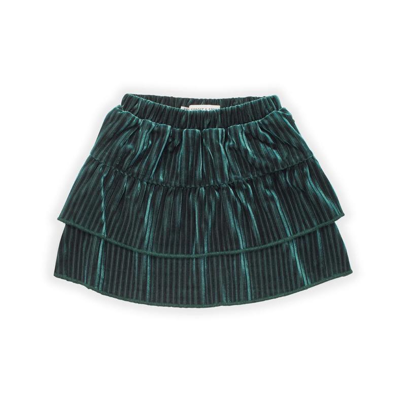 Sproet&Sprout - Skirt Velvet Pleats Pine Green