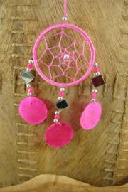 [ N-0412 ] Dromenvanger 6.5 cm. Roze met Spiegeltjes en Schelp