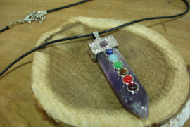 +[ N-0498 ] Ketting met hanger, Amethist met chakra steentjes