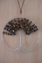 [ N-0266 ] Levensboom hanger 20 cm. Natuursteen Tijgeroog