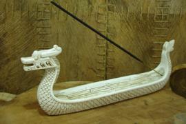 *[ N-0240 ] Wierookhouder: Chinese Drakenboot Wit  Lengte  28 cm Hoogte 11 cm