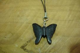 [ N-0350 ] Vlinder Hout  3 cm. Zwart aan koord met slotje