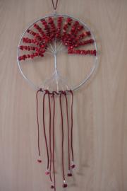 [ N-0263 ] Levensboom hanger 20 cm. Natuursteen Koraal rood