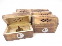 [N-0227 ] Wierookhouder Kegel Kistje hout  Yin Yang.