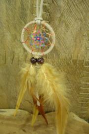 [ N-0540 ] Dromenvanger 4½ cm. L. Bruin/Ecru met multicolor aan koord 80 cm.