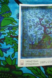 *[ N-0404 ] Kleed; Boom op Blauw, 210 x 240 cm.