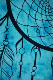 *[ N-0400 ] Kleed;   Dromenvanger zwart op Turkoois doek, 210 x 240 cm.