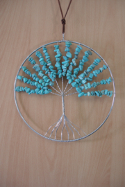 [ N-0265 ] Levensboom hanger 20 cm. Natuursteen Turquoise