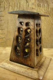 *[ N-0338 ] Toren 10 cm. Kegel wierook houder, Hout, per stuk