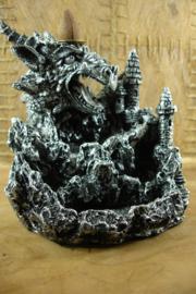 *[ N-0397 ] Backflow; Draak kasteel, Grijs 14 cm. met verlichting