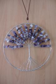 [ N-0269 ] Levensboom hanger 20 cm. Natuursteen Amethist